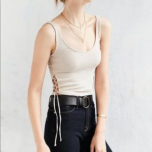 urban outfitters side tie lace up crop top